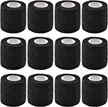 Pangda 12 Pieces Adhesive Bandage Wrap Stretch Self-Adherent Tape for Sports, Wrist, Ankle, 5 Yards Each (2 Inches, Black)