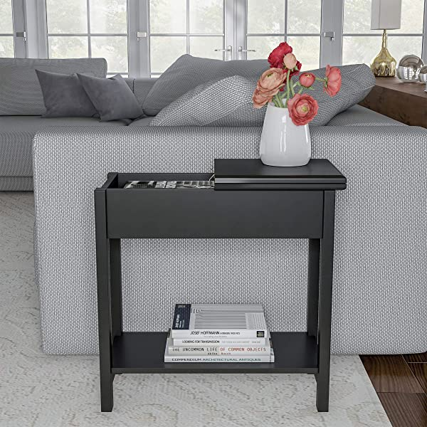 Home 80 FT 9 Lavish Flip Top End Table Slim Side Console With Hidden Hinged Storage Compartment And Lower Shelf For Living Room Hallway Or Entryway