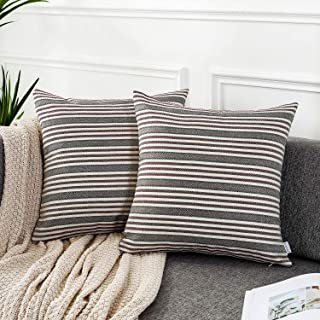 AmHoo Pack of 2 Striped Linen Throw Pillow Cover Soft Comfortable Pillow Case Cushion Cover with Hidden Zipper for Couch L...