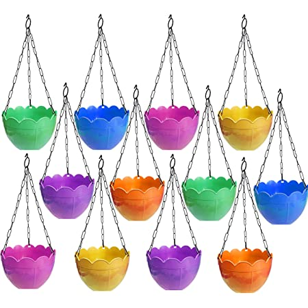 TechHark Plastic Hanging Planter, Assorted Colour, Standard Size, Pack Of 12