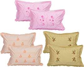 Rj Products Cotton Embroidered Pillow Covers (Standard Size, Multicolour) -Set of 6 Piece