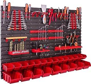 Opslagsysteem wandrek 115x78 cm, gereedschapshouders, 23 stuks. Stapelboxen, opbergkast, extra sterke wandplaten, uitbreid...