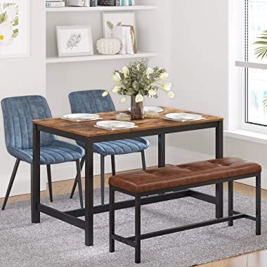 VASAGLE Upholstered Dining Table Bench, Ottoman Bench with PU Leather Padded Seat, Steel Frame, 42.5 x 12.8 x 18.9 Inches, fo