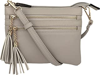 B BRENTANO Vegan Mini Multi-Zipper Crossbody Handbag Purse with Tassel Accents