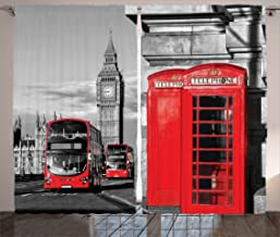 """Ambesonne London Curtains, London Telephone Booth in The Street Traditional Local Cultural England UK Retro, Living Room Bedroom Window Drapes 2 Panel Set, 108"""" X 84"""", Red Grey"""