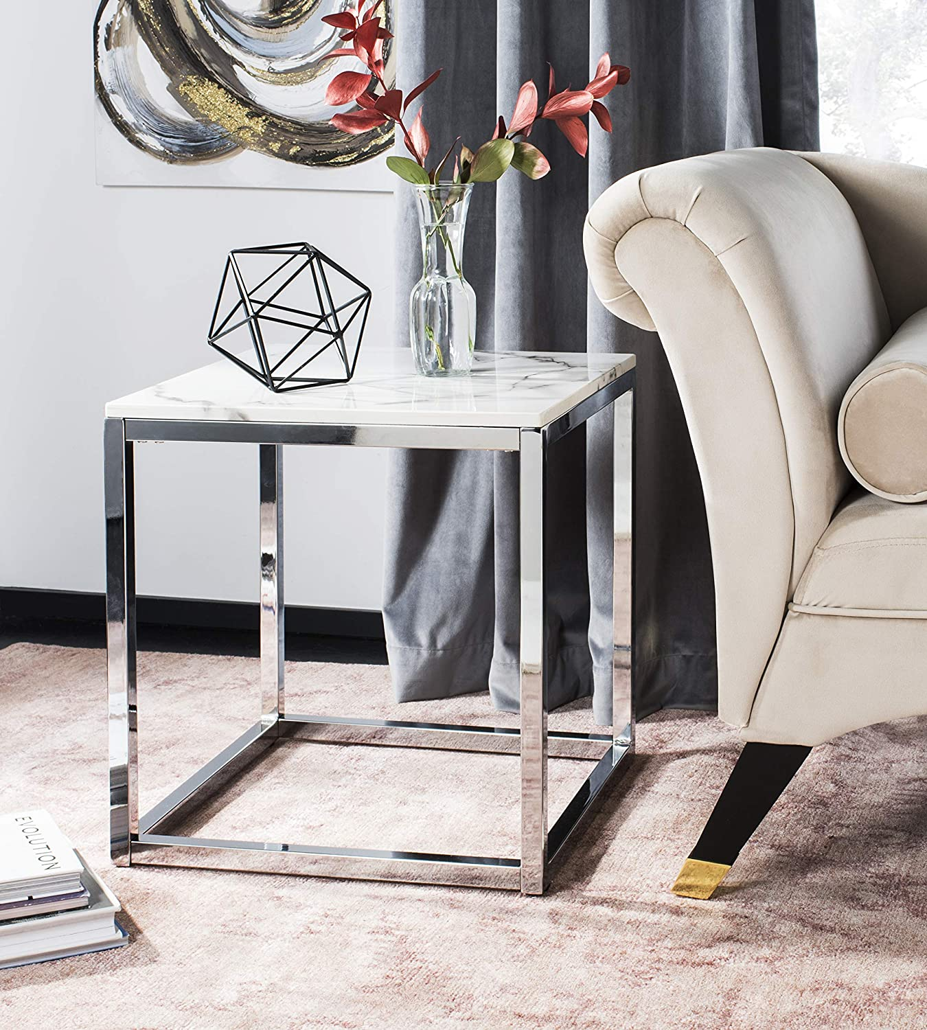 Long-awaited Safavieh Home Bethany Glam White Marble Chrome Square Ta Max 59% OFF End and