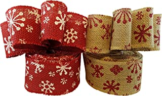 3Cats Designs Christmas Holiday Burlap Ribbon with Wired Edge - Decorate Wreaths, Gift Wrap, Christmas Tree, Bows, DIY Craft Projects - 2 Rolls, Each 2.5 Wide x 10 Yards Long