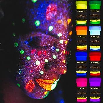 LUMINOUS UV Body Paint - Set of 8 x 20 ml / 0.7 fl oz pots- Black Light Neon Make-Up - Bodypainting Neon Blacklight Bodypaint Face Paints