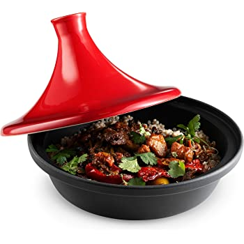 Moroccan Tagine, by Kook, Ceramic Lid, Cast Iron Base, Red, Stove Safe, 2.5qt