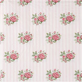 Floral Paper Napkins - 100-Pack Disposable Tea Party Napkins, Weddings, Bridal Shower Party Supplies, 2-Ply, Vintage Pink Roses, Flower Decoupage, Luncheon Size Folded 6.5 x 6.5 Inches