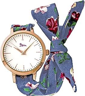 Boum Arc Quartz Floral Print Wrap Tie Up Strap Watch
