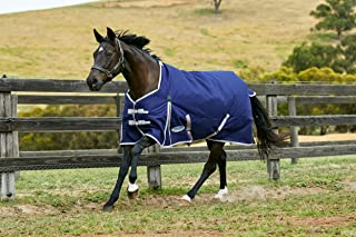 WEATHERBEETA COMFITEC Essential Standard Neck LITE Navy/Silver/RED 6'3 Horse Rug