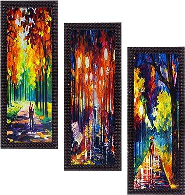 eCraftIndia 'Loving Couple' UV Art Painting (Synthetic Wood, 53 cm x 41 cm, Set of 3, Satin Matt Texture, C3FPB2153)