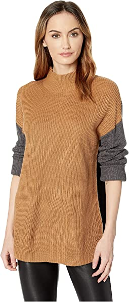 Mock Neck Three-Color Sweater