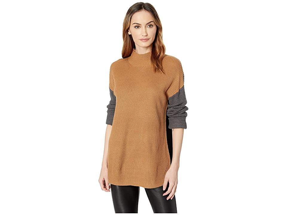 Calvin Klein Mock Neck Three-Color Sweater (Vicuna Combo) Women