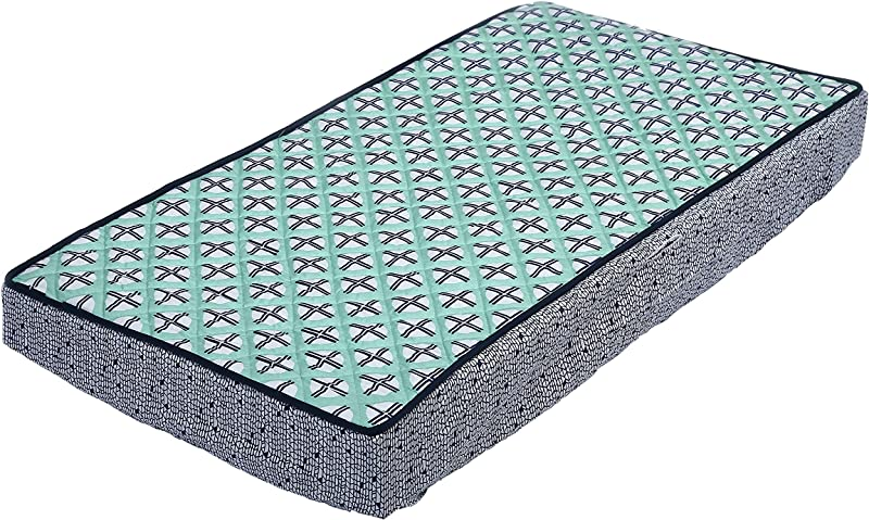 Bacati Noah Tribal Quilted Top Cotton Percale With Polyester Batting Diaper Changing Pad Cover Mint Navy Dot Cross