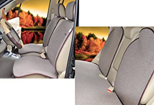 Sojoy Four Seasons Universal Full Set of Car Seat Cushion Covers Advanced Material (Brown and Tan)