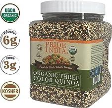 Pride Of India - Organic Three Color Quinoa - 100% Royal Bolivian Superior Grade Protein Rich Whole Grain, 1.5 Pound (24oz...