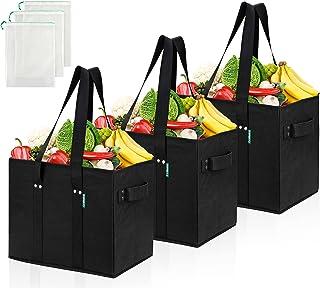 COTTARA Premium Einkaufstasche faltbar 3er Pack – Stabiler wiederverwendbarer Einkaufskorb mit faltbarem verstärktem Boden...