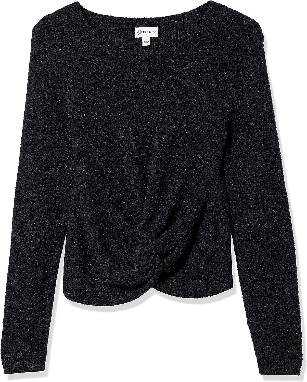 The Drop Women's Eloise Long Sleeve Twist Front Cozy Cropped Sweater