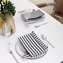 Cotton Dinner Napkins Black & White Stripe, Set of 12 (20 x 20 Inches), Over Sized, Embroidery And Print, Lint Free, Quick Dry, Hemmed With Mitered Corners