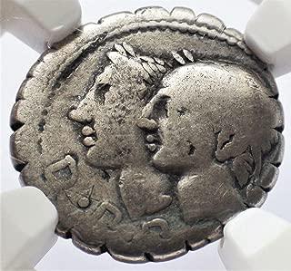 IT c. 106 BC Ancient Rome Roman Republic Authentic Antique Silver Coin AR Denarius Serratus Very Good NGC