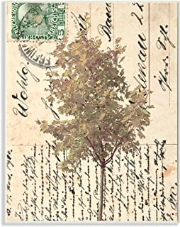 Stupell Industries Country Vintage Postal Card Autumn Tree, Designed by Alonzo Saunders Wall Plaque, 13 x 19, Tan