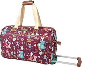 Lily Bloom Luggage Designer Pattern Suitcase Wheeled Duffel Carry On Bag (14in, Cat And Mouse)