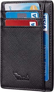 BSWolf RFID Blocking Minimalist Credit Card Holder Slim Front Pocket Genuine Leather Wallets for Men & Women