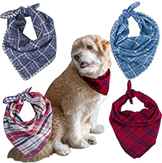 Zeicobs Dog Bandanas, 4 Pack - Cotton Bandanas Handkerchiefs Scarfs Collar Dog Collar Bandanas Triangle Bibs Accessories for Small Medium Large Dogs Puppies Pets