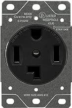 ENERLITES 30 Amp Dryer Receptacle Outlet, NEMA 14-30R | Residential Commercial Industrial Grade, Outdoor/Indoor, 3-Pole, 4 Wire, (10,8,6,4) AWG, UL Listed | 125/250V, 66300-BK - Black