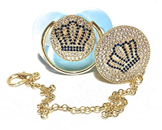 Pacifier and Clip with Swarovski and Cubic Zirconia Crystal for Luxury Baby Gift (Blue)