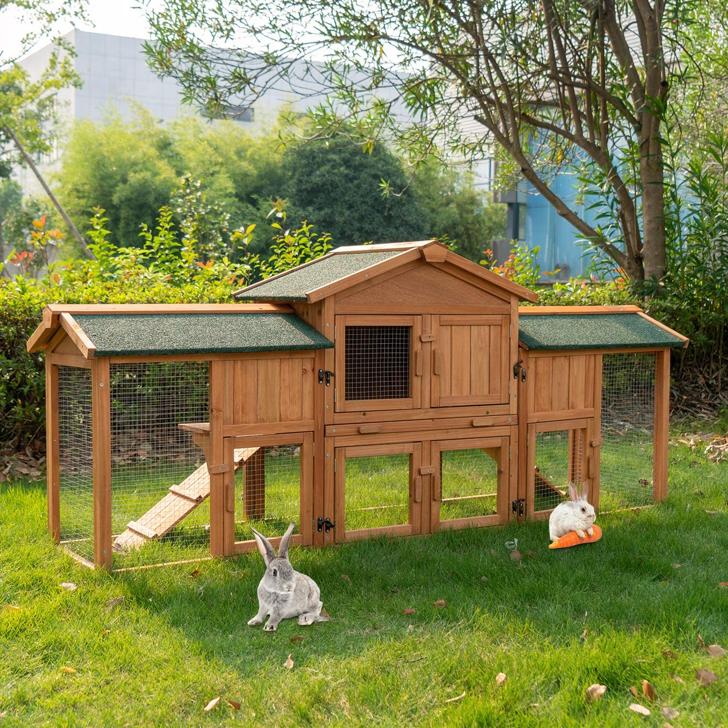 13+ KINTNESS Large Rabbit Hutch Wooden Outdoor Bunny Poultry Cage Garden  Backyard Chick Coop Hen Cage Small Animals House with 8 Ramps and Removable  Tray Kollektion