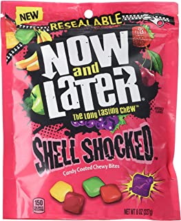 Now & Later Shell Shocked Fruit Chewy Bites Candy, 8 Ounce Bag, Pack of 6