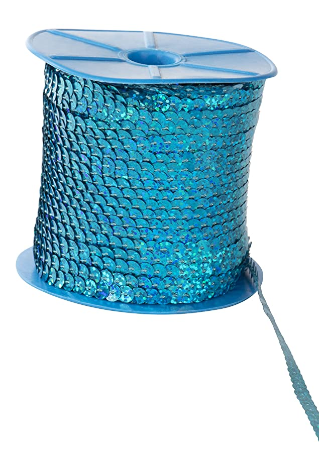 Paillettes Sequins Roll - 6mm Flat Sequin Trim, Sequin String Ribbon Roll for Crafts, DIY Projects, Embellishments, Costume Accessories, Blue, 100 Yards