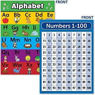 Laminated ABC Alphabet & Numbers 1-100 Poster Chart Set (18 x 24)