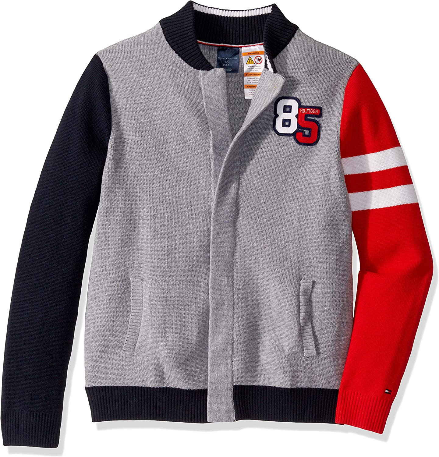 Tommy Hilfiger Boys' Adaptive Baseball Sweater with Magnetic Buttons at Front