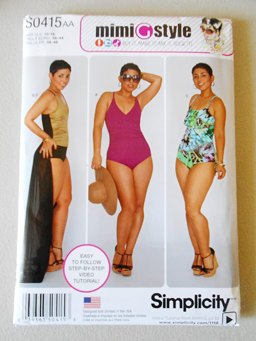 Simplicity 0415 Sewing Pattern Mimi Style Misses' /Wome's Swimsuits and Wrap Skirt Size 10-18 demn491625663352