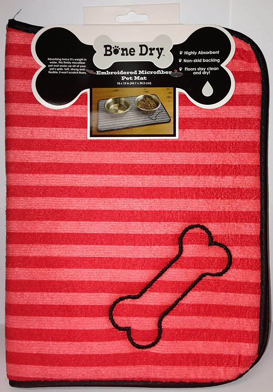 Bone Dry Embroidered Microfiber Pet Mat (Pink Red)  Dog Bone Print