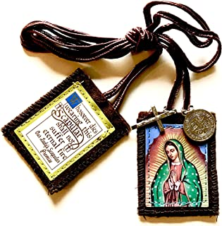 Escapularios La Virgen De Guadalupe - Brown Scapulars Necklace for Women and Men - Scapular with Medal and Crucifix