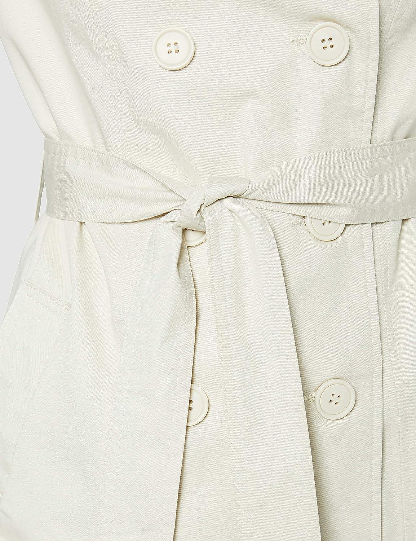 Amazon-Marke: find. Trenchcoat Damen mit Gürtel und Zweireiher Beige (Ecru)