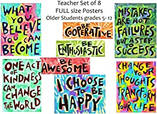 Inspirational Motivational Posters (Set Of 8) Teacher Classroom Positive Thinking Quote Kindness Success Growth Mindset