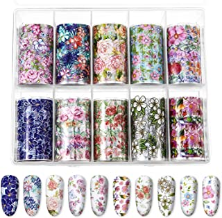 10 Sheets Fashion Art Nail Foil Transfer Stickers, Nail Decals Transfer Foil Box, DIY Decoration for Women and Kids, 10 Colors (Flower Patterns)