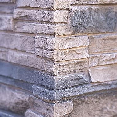 Bond Manufacturing 63172 Newcastle Propane Firebowl Column Realistic Look Firepit Heater Lava Rock 40,000 BTU Outdoor Gas Fir