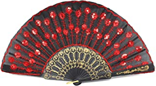 Radix Elegant Fabric Folding Hand Fan (Red/Black) - Snaps Open, Easy to Handle. Cools effortlessly. Perfect Ballet and Dance Fan.