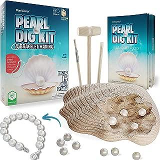 Dan&Darci Real Pearl Mining Kit & Bracelet Making Kit - Dig Up 15 Pearls and Create a Bracelet : Gemstone Dig Kit - Kids Geology Kits for Children of All Ages : Gem Dig Kit - Excavation Kits for Kids