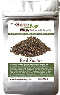 The Spice Way - Real Zaatar with Hyssop spice blend | 4 oz | (No Thyme that is used as an hyssop substitute). With sumac. No Additives, No Perservatives, (Za'atar/zatar/zahtar/zahatar/za atar)