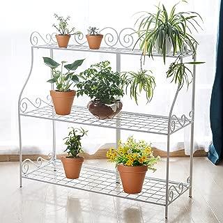Freestanding Metal Scrollwork Design 3 Tier Bathroom & Kitchen Storage Organizer Shelf Rack, White