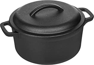 AmazonBasics Pre-Seasoned Cast Iron Dutch Oven with Dual Handles - 2-Quart