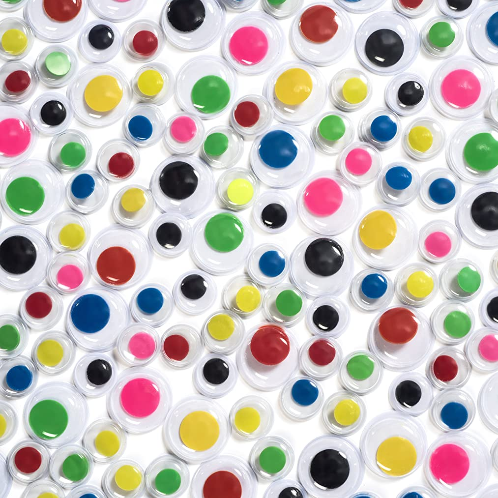 Peachy Keen Crafts 1000 Piece Googly Eyes - Color and Black and White - Paste On Wiggle Eye - Bulk Value Pack Perfect Stocking Stuffer
